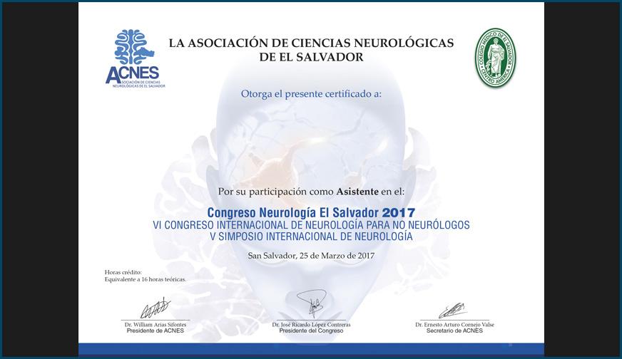 Diploma Congreso de Neurología El Salvador 2017