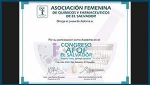 Diploma 1er Congreso AFQF El Salvador 2016
