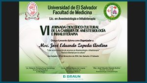 Diploma VI Jornada Científico Cultural de la Carrera de Anestesiologia e Inhaloterapia.