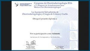 Diploma Congreso Nacional de Otorrinolaringología 2016