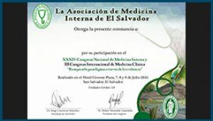 Diploma XXXIV Congreso Nacional de Medicina Interna 2016