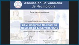 Diploma XXVI Congreso Nacional de Neumología 2016