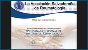 Diploma XV Jornada Nacional de Paciente de Reumatología