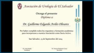 Diploma Asociación de Urología de El Salvador